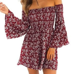 NEW Off Shoulder Mini Floral Summer Dress